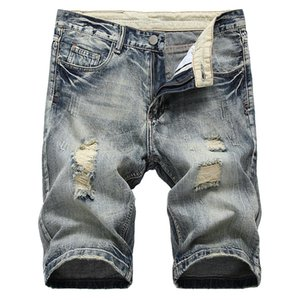 Straight Ripped Jeans Shorts Men Summer Brand New Mens Stretch Short Jeans Casual Streetwear Elastic Biker Denim Shorts 29-42