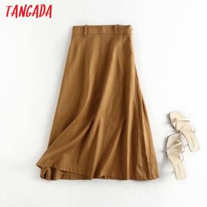 Tangada women viscose cotton midi skirt faldas mujer vintage side zipper office ladies elegant chic mid calf skirts 4C26