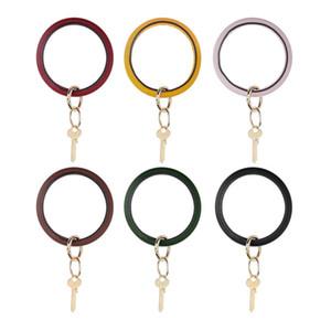 Искусственная кожа круг браслет брелок милый браслет брелок женщины двойное кольцо браслет брелок подарок партии LJJ-TTA1862