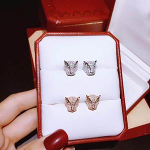 marca caliente S925 plata pura uñas de leopardo oído de la alta calidad del zircon de la manera clásica de diseño guepardo arrogante es la personalidad par de pendientes