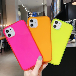 Fluorescent Color Shockproof Phone Case For iPhone 11 Pro Max XR XS Max 7 8 Plus Neon Case Soft TPU Clear Phone Cover