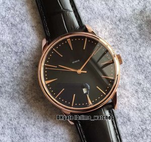 8 colori NUOVO Patrimony 85180 / 000R-9166 cassa in oro rosa Quadrante Nero Automatic Watch Mens cinturino in pelle di moda 42 millimetri Uomo d'affari Orologi