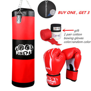 100 centimetri Fitness Training Fighter Bag Boxing gancio appeso Bag Punch Sandbag (vuoto) con la boxe guanti mano avvolge