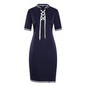 6XL Frauen-Sommer-beiläufiges Kleid Stehkragen mit Band-Bleistift-Kleid-Modedesigner-Bahnenkleid