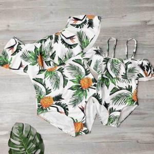 Vêtements pour enfants femmes badine Maillot de bain Mère Fille Pineapple Imprimer monopièce Matching famille Bikini Maillots de bain été