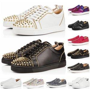 Christian Louboutin 2019 Nouveau Designer de mode Bas Rouge Bas Clouté Spikes Flats chaussures Pour Hommes Femmes Partie Véritable En Cuir Casual Baskets taille 36-47