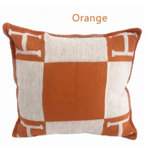 Letter H Pillow Cover Wool Blend Decorative Throw Pillow Case Home Sofa Decoration Cushion Cover 7colors