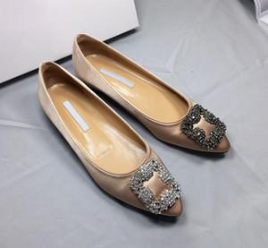 Han edition остроконечные алмазные плоские туфли женская обувь новая весенне-летняя модная обувь пряжка шелка и атласа мелкий рот Джокер