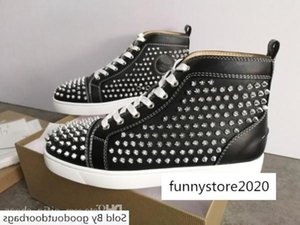 Mens Red Bottom High-top Sneakers Designer Women Junior Spikes Trainers Lace-up Flat Wedding Shoes with Box US12.5