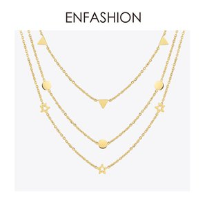 Enfashion Geometric Triangle Circle Star Choker Necklace Gold Color Necklaces Pendants Stainless Steel Necklace Women Chocker Y19061703