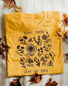 1PCS Save the Bees Top Tee vegetali Questi Save The Bees T-shirt Donne Grunge estetica Yellow Tee '90 Carino Vintage Fashion Top