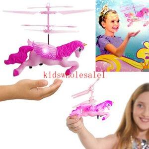 여자 어린이를위한 패션 귀여운 동물 장난감 충전식 손 FLYING LED REMOTE CONTROL 핑크 소녀 장난감 생일 크리스마스 선물