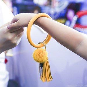 PU Leather Bracelet Key Rings Pompom Charm Bangle Keyring Tassel Ring Circle Keychain For Women Girls Wristlet Key Chain Jewelry Gifts