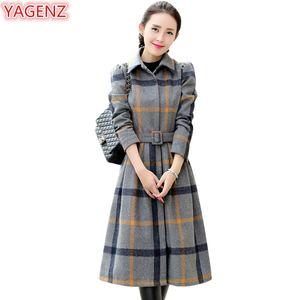 YAGENZ Yün Ceket Kadın Giyim Elbise Sonbahar Kış Ceket Kadın Moda Uzun Elbise Mizaç Kafes Yün Ceket 507