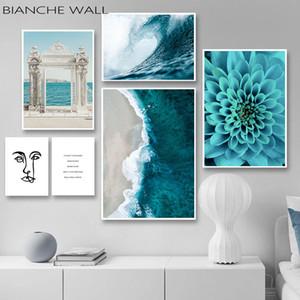Ocean Waves bleu de mur de fleur affiche de mer de plage de toile de paysage Imprimer Peinture nordique Salle Art scandinave Décoration Image