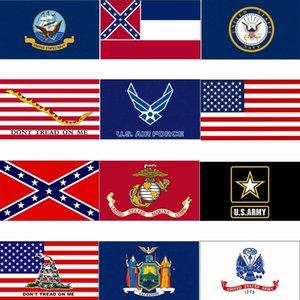 Bandeira 3x5ft bandeira dos EUA Mississippi State Confederate Flags 90 * 150 centímetros EUA Bandeira Exército Força Aérea Marinha Corp Marinha Bandeira frete grátis HHA1422