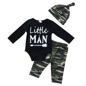 Recém-nascido Meninos Roupas de Natal da criança Romper + calça + Hat 3PCS definidos Outfit infantil Boutique Traje Casual Crianças Crianças Pijamas BY0670