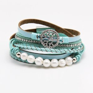 Trendy Tree of Life Charm Bracelets Multilayer Magnetic Buckle Leather Wrap Bangle & Bracelets Womens Imitation Pearl Pulseira