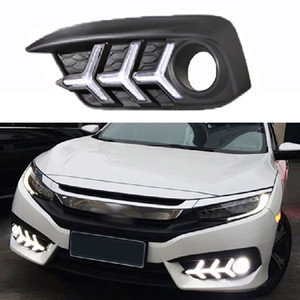 Car DRL led For Honda Civci 10th 2016 2017 2018 Daytime Running Lights With Fog Light Hole Auto Accessories