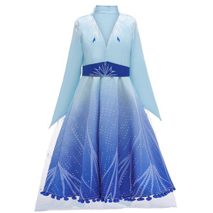 Dondurulmuş Elbise Çocuk Snow Queen 2 II Cosplay Fantezi Prenses Elbise Kız Karikatür kar tanesi Moda Elbise Ceket Pantolon 3`lü Set