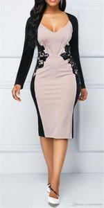 Vestidos Sexy exclusivo cuello en V color del contraste del remiendo de la cintura delgada Ropa para mujer Ropa de la moda de las nuevas mujeres de moda