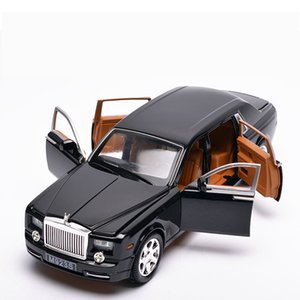 Diecast Alloy Car Toy Modelo, 1:24 Rolls-Royce Phantom com Som Luzes, Pull-back, ornamento para o Natal do aniversário do miúdo, presente do menino, coletando 2-1