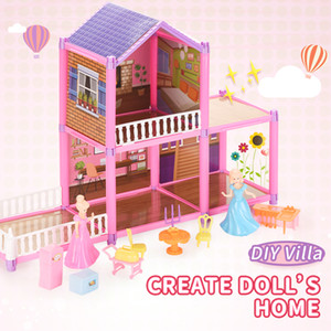 TW2005128 DIY Villa Create doll's home with furniture and interior decoration DIY combine dream home