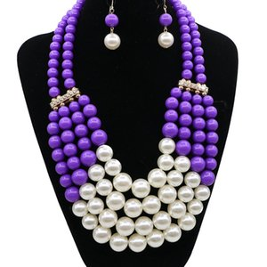 Charming Purple Yellow Blue Orange Pearls Jewelry 2 Pieces Sets Necklace Earrings Bridal Jewelry Bridal Accessories Wedding Jewelry T226350