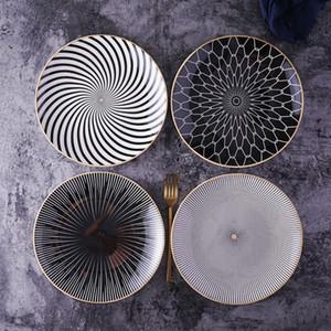 Nueva nórdica 8 o 10 pulgadas Placas Plato principal Geometría Vajilla Cena plato de porcelana postre de vajilla Cake Ceramica Salver T191102