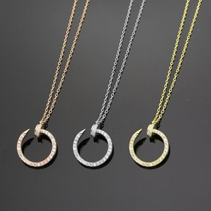 925 silver nail full diamond pendants necklace chain 18K rose gold necklace for women and men