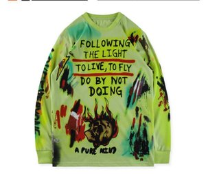 Mens Doodle long sleeve T shirts Fashion Designer Kid See Ghosts Printed Hoodie Flocking Hiphop Streetwear T-shirt Pullover KY105989
