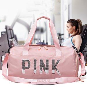 Fashion PINK large-capacity travel bag sports fitness bag printing handbag shoulder Duffel bags