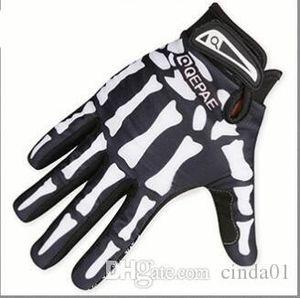 Hombre del diseñador del motorista que compite con guantes de verano Invierno cinco dedos dedo guantes guantes Protegida cráneo Impreso transpirables