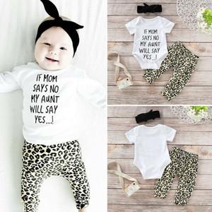3 STÜCKE Set Neugeborenes Baby Mädchen Kurzarm Brief Drucken Baumwolle Body Tops Leopard Hose Hose Stirnband Outfits Babykleidung