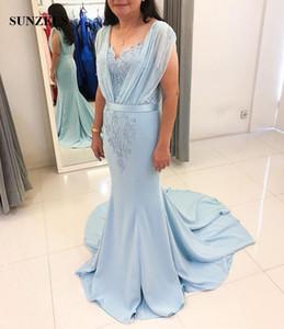 Sirena Madre de la novia Robe Vestido de fiesta de las mujeres con cuentas de lujo Cap Mangas Barrido Tren Azul Gasa Novio Vestidos de la madre Bata ceremonial