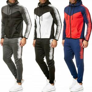 2 Stück Set Men Hoodies beiläufige Trainingsnazug-Sport-Jacken-Sweatshirts Tops und Hosen 2ST Anzug Set Herbst-Winter-Anzug