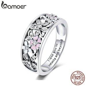 bamoer 925 Silver Daisy Flower Бесконечность Любовь Pave кольца перста для ювелирных изделий женщин Wedding Engagement SCR390 MX200528