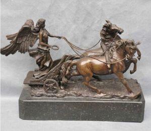Kupfer Messing CHINESISCHEN handwerk dekoration Asiatische Bronze Soldat Engel Blei Zwei Pferd Streitwagen Kunst Skulptur Statue zigarette