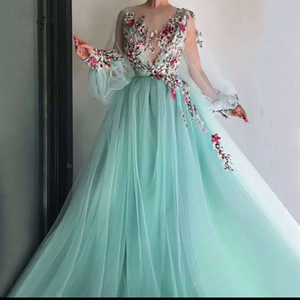 2020 New Pretty Mint Green Floral Embroidery Lace Prom Dresses Puff Full Sleeves Illusion O-neck A-line Party Dress Vestido Formatura