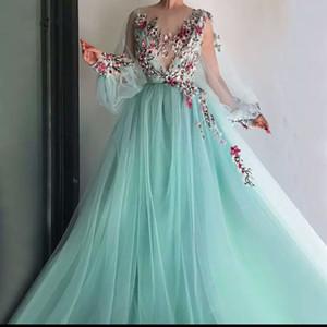 2020 nuovi abbastanza Mint Green floreale del merletto del ricamo dei vestiti da promenade maniche a sbuffo completa Illusion O-collo di A-line del vestito da partito Vestido Formatura