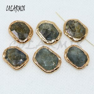 자연 labradorite 돌 구멍 구슬 전기 도금 돌 패션 구슬 보석 구슬을 찾는 구슬 보석 4942