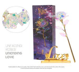 24K Gold Foil Led Light Rose Flower для День Святого Валентина Подарок Искусственный Светящийся цветок Свадебные подарки пакет коробки XD22918