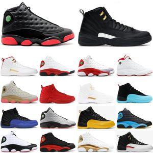 В коробке новые мужские ботинки баскетбола Иордания 12С Nakeskin 12 черный желтый университет золото игра Королевский грипп спортивное Спорт кроссовки