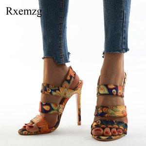 mulheres Rxemzg sandálias de verão mulher sapatos peep toe de salto alto mulheres magras saltos tornozelo partido sandálias cinta de moda senhoras