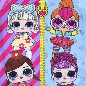 Toddler Girls Lol Swimwear 2020 Summer Cartoon One Piece Swimsuit Back Zipper Beach Wear Bathing Suit with Swimming Cap for Girl