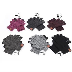 Lettera stampata guanti 6 colori Touch Screen Gloves colore solido inverno Sbarazzamento maglia caldi guanti dita Stretch Guanti