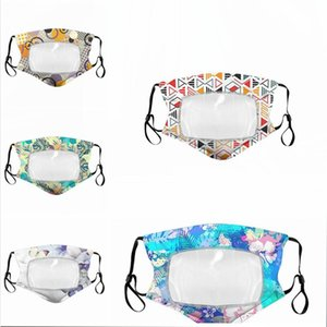 Transparent Face Mask Lip Language Printing Floral Deaf Reading Mouth Clear Window Cover Adjustable Washable Reusable Protection LJJP77