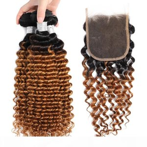 C 1B 27 Deep Wave Ombre Human Hair Bundles With Lace Closure 2 Tone Colored Blonde Brazilian Virgin Curly Ombre Weaves With 4x4 Top Clo