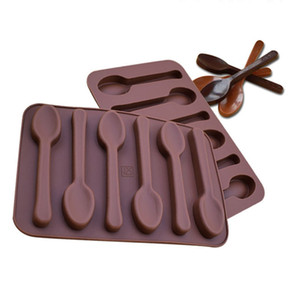 Antiaderente silicone DIY Cake Decoration Moldes 6 furos Colher Forma Chocolate Moldes Jelly Ice Baking molde 3D doces ferramentas de molde DBC BH3775