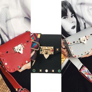 المرأة 2019 لون الكتف واسعة حزام المرأة الفيروز برشام كل مباراة الأزياء مربع صغير حقيبة الكتف حزام حقيبة صغيرة مربعة